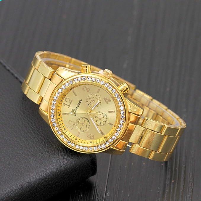 Reloj de Hombre Reloj de Cuarzo con Correa de Acero con Tres Ojos Falsos y Tachuelas de Diamantes Reloj de Oro con Diamante Dorado: Amazon.es: Deportes y ...
