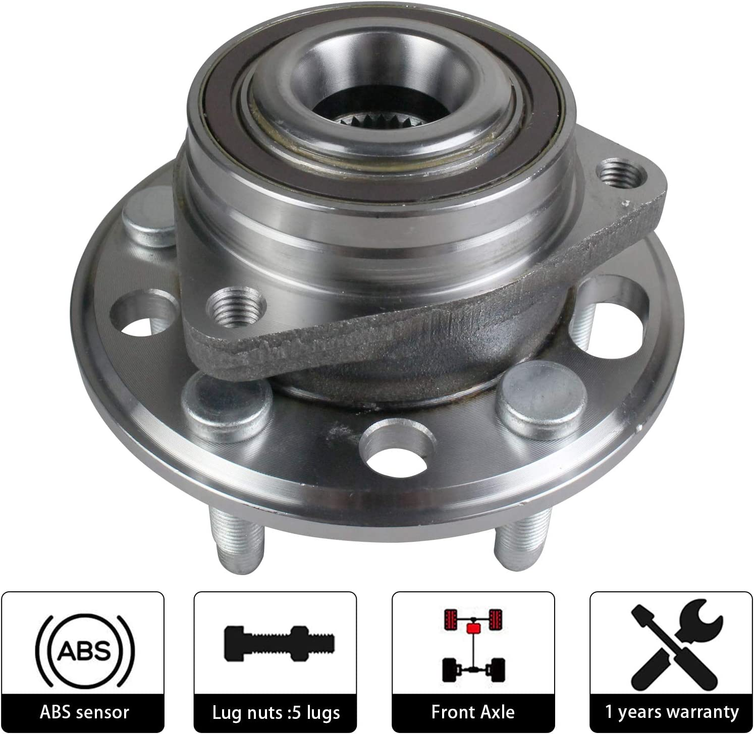 Chevy Impala 5 Lugs w//ABS Cadillac XTS CTS PAROD 2X513288 Front//Rear Wheel Hub Bearing Assembly Compatible with Chevy Malibu Chevy Equinox Buick Regal GMC Terrain Buick Lacrosse