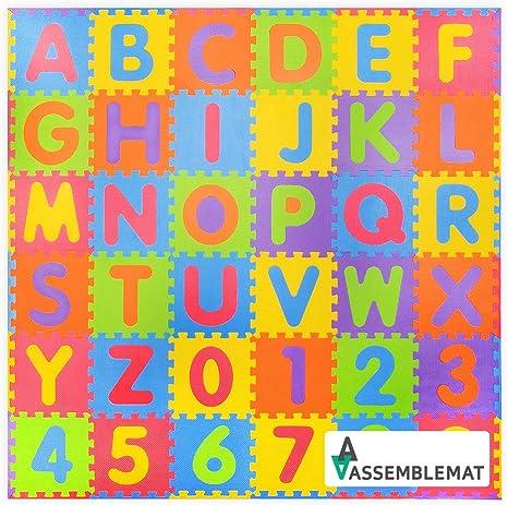 36 piezas N/úmeros suaves y Alfabeto Alfombras de juego con bordes