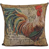 Dantiya Rooster Painting Decorative Throw Pillowcases Cotton Linen Pillow Covers (rooster)