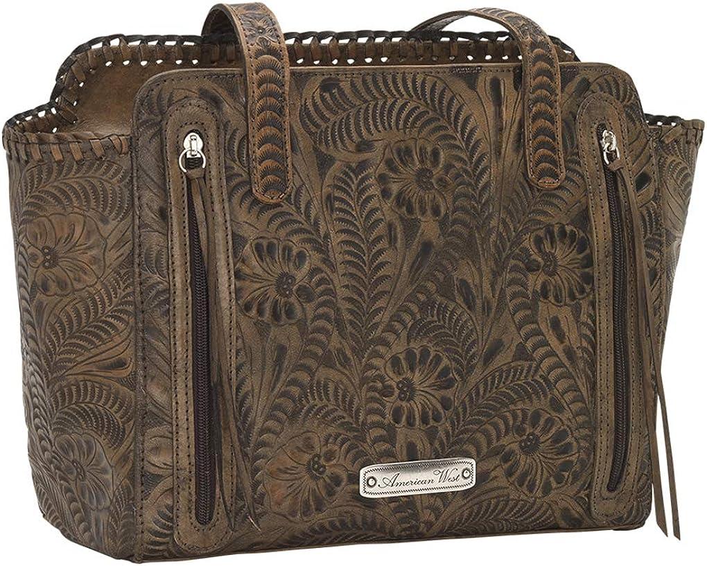 American West Leather - Borsa a tracolla con scomparti multipli Trasporto Nascosto Effetto Invecchiato.
