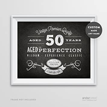 Andaz Press Personalized Milestone Birthday Wall Art Poster Signs 50th Gifts Decorations And