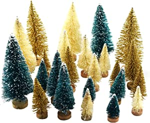 24 Pieces Artificial Mini Christmas Sisal Snow Frost Trees with Wood Base Bottle Brush Trees Plastic Winter Snow Ornaments Tabletop Trees for Christmas Party Home Decoration Green, Gold and Ivory