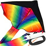 IMPRESA Large Rainbow Delta Kite - Easy to Assemble, Launch, Fly - Premium Quality, Great for Beach Use - The Best Kite for Everyone - Girls, Boys, Kids, Adults, Beginners and Pros