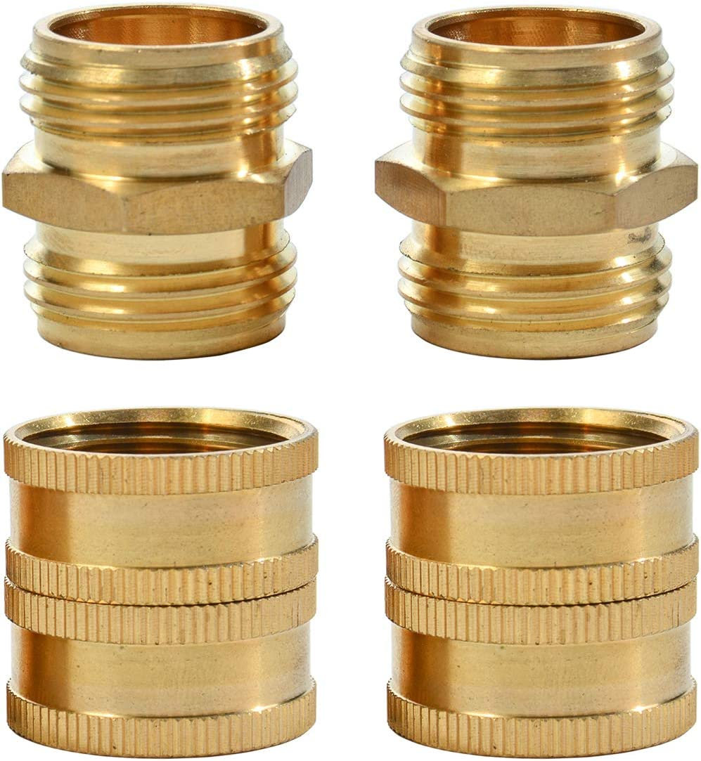 REGNHLIF 4 Pack 3/4 Inch Brass Garden Hose Connector,Female to Female Hose Adapter,Male to Male Hose Adapter,Double Female with Dual Swivel (with 4 Washers)