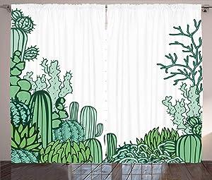"Ambesonne Cactus Curtains, Arizona Desert Themed Doodle Cactus Staghorn Buckhorn Ocotillo Plants, Living Room Bedroom Window Drapes 2 Panel Set, 108"" X 96"", Light Green"