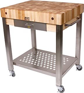 """product image for John Boos Cucina Americana Technica Kitchen Cart with Butcher Block Top Counter Top Height: 2.25"""", Drawers: 1 Included"""