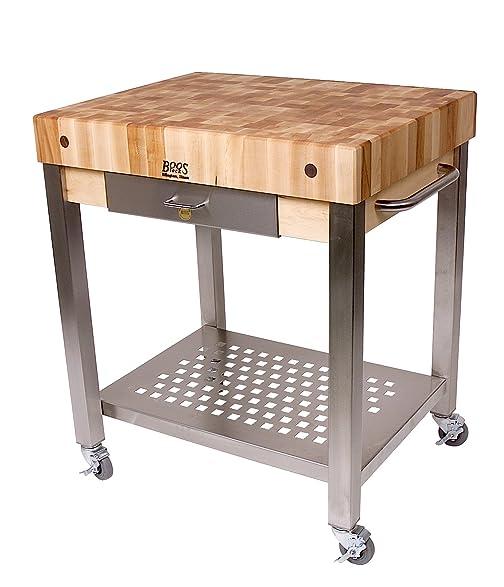 Cucina Americana Technica Kitchen Cart With Butcher Block Top Counter Top  Height: 2.25u0026quot;,