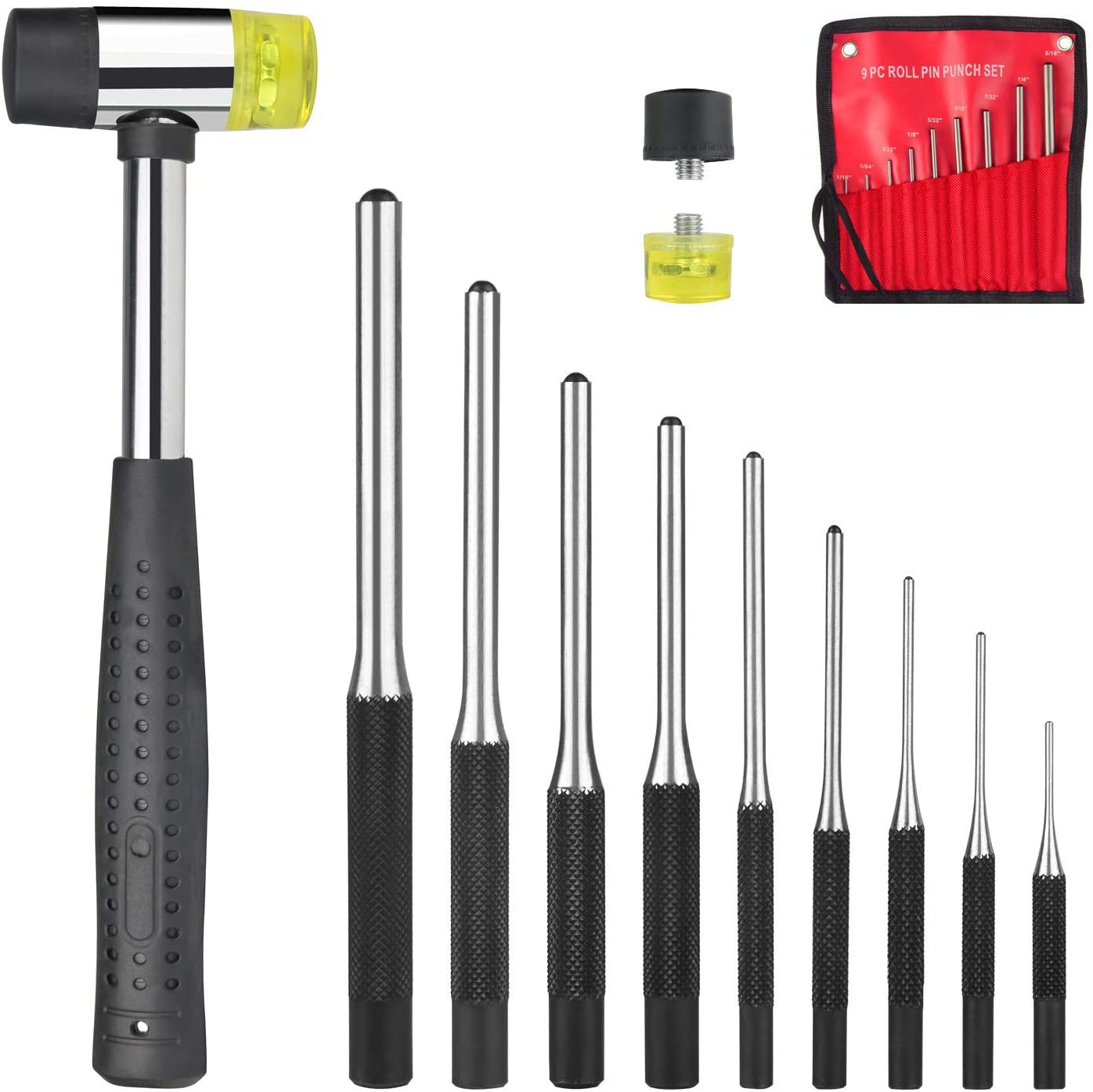 Feyachi Roll Pin Punch Set with Storage Pouch, 9 Piece Steel Removal Tool Kit