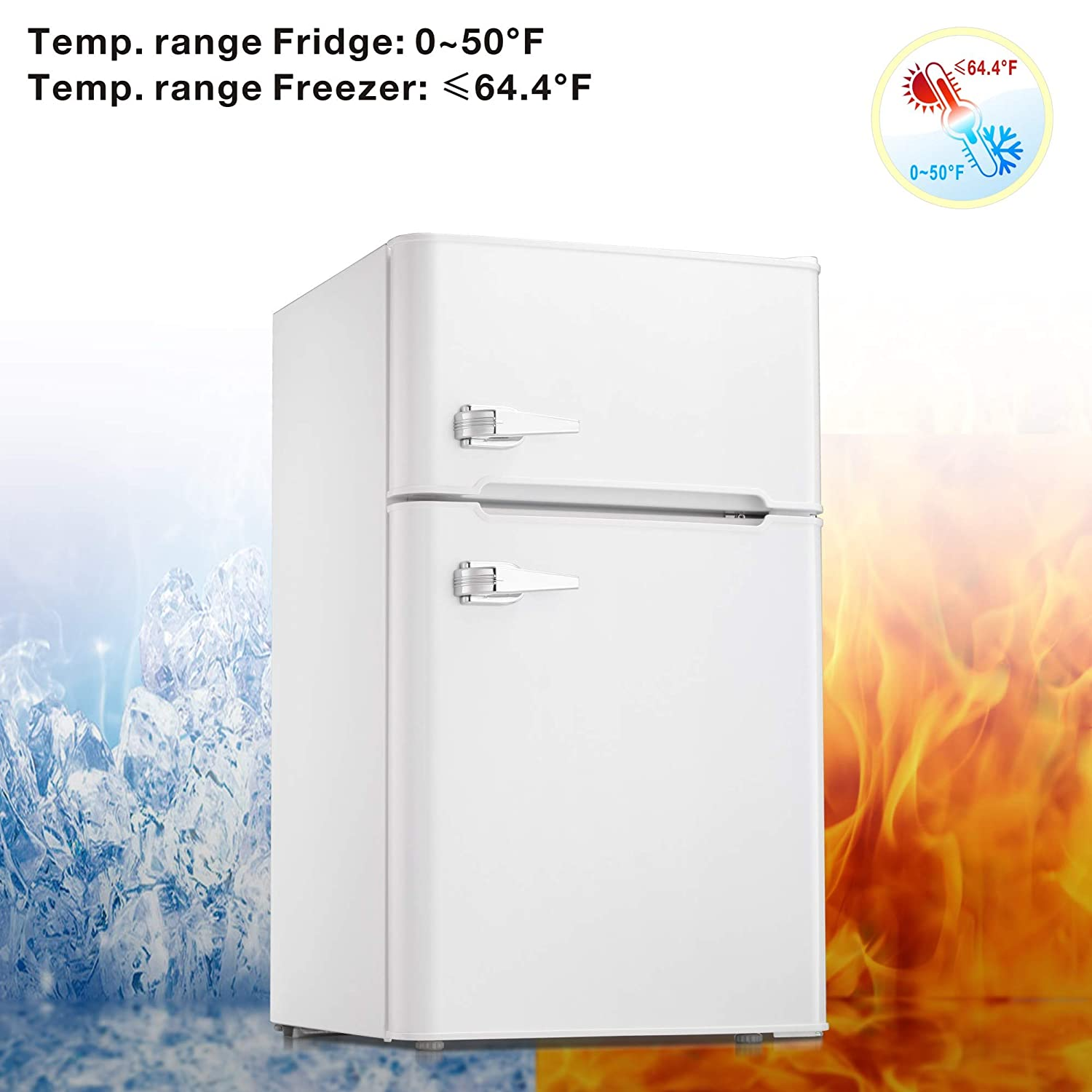 White Portable Single Door Refrigerator with Freezer Compartment Home and Office AGLUCKY Compact Refrigerator 1.62 cuft