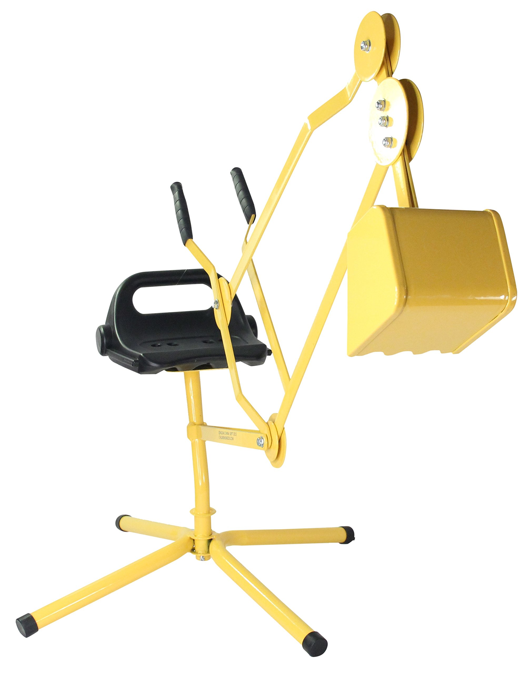 Childrensneeds.com Legged Sand Digger Toy Backhoe for Snow, Sand, Beach, Dirt, A Durable Metal Outdoor Ride-On Excavator Toy for Ages 3 & Up (Yellow)