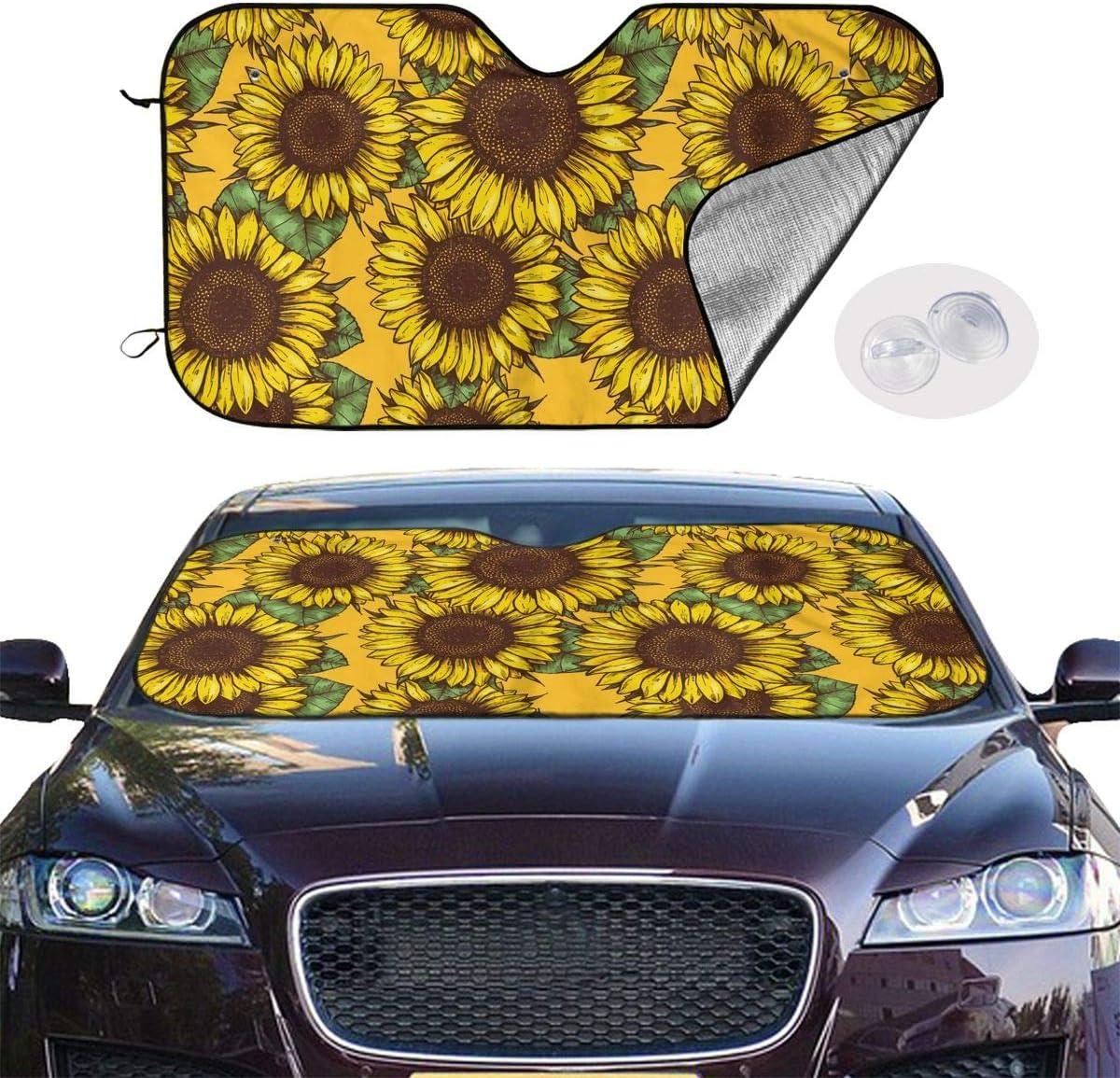 Sunflower Power Windshield Sun Shade,Car Window Shade Car Windshield Sun Shade Keep Vehicle Cool and Prevent Sun Exposure Car Sun Shade for Windshield Shabby Chic