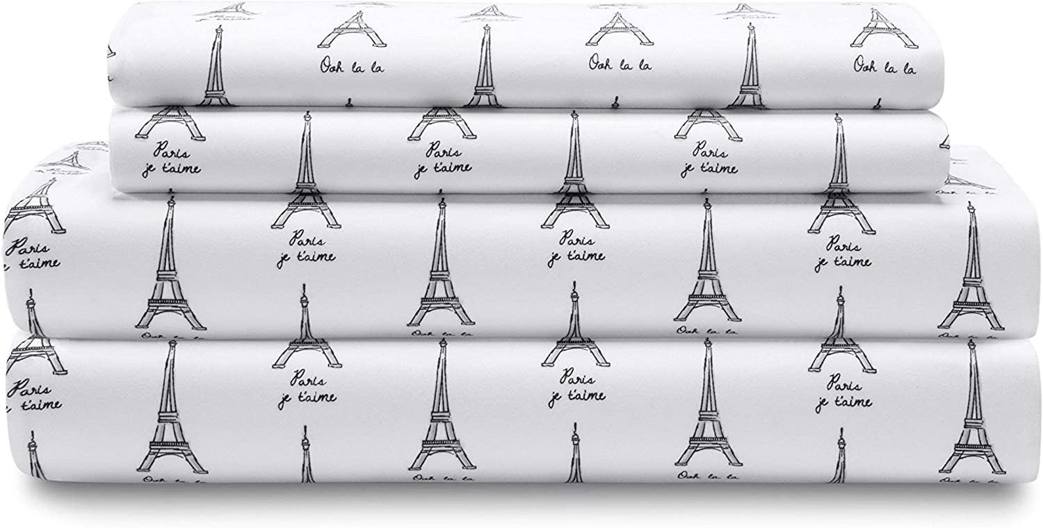 Elite Home Products Microfiber 90 GSM Whimsical Printed Deep-Pocketed Sheet Set, Twin, White Paris