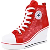 Catata Women's High Top Canvas Shoes High Heel Wedge Lace up Side Zipper Sneaker