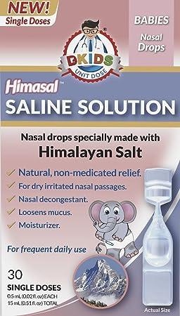 Dr  Kids® - Himasal Natural Nasal Saline Solution  100% Himalayan Salt,  Pre-Measured, Single-Use Vials