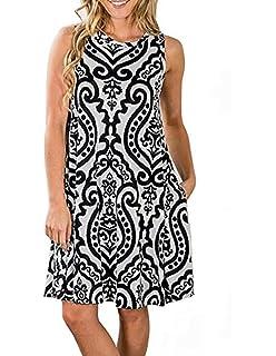 769c9bfbe8d Sanifer Women's Floral Print Bohemian Sleeveless Tunic Dress Pockets T-Shirt  Dress Beach Sundresses Tank