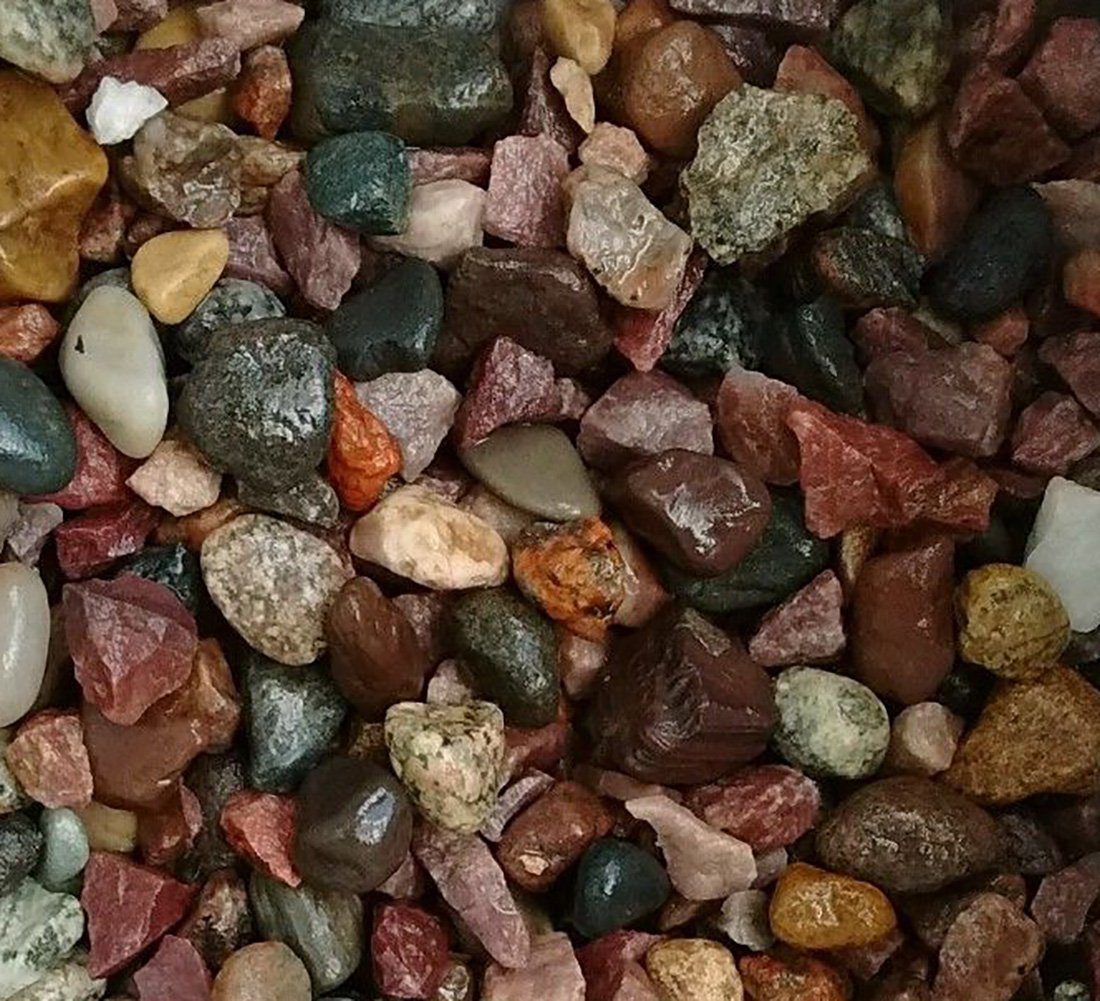 Safe & Non-Toxic {Various Sizes} 30 Pound Bag of Gravel, Rocks & Pebbles Decor for Freshwater & Saltwater Aquarium w/ Natural Earth Toned Polished Smooth River Style [Tan, Red & Gray]