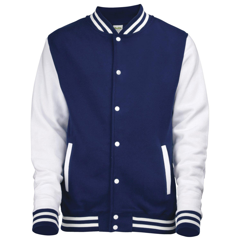 AWDis Hoods Varsity Letterman jacket Oxford Navy / White 2XL