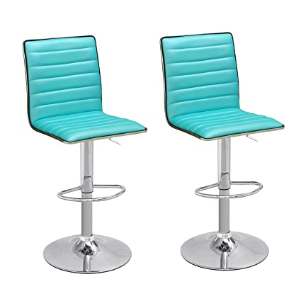 Joveco Modern Hydraulic Lift Adjustable Leather Bar Stools Set Of 2  Crystal Blue Blue Leather Bar Stools L55