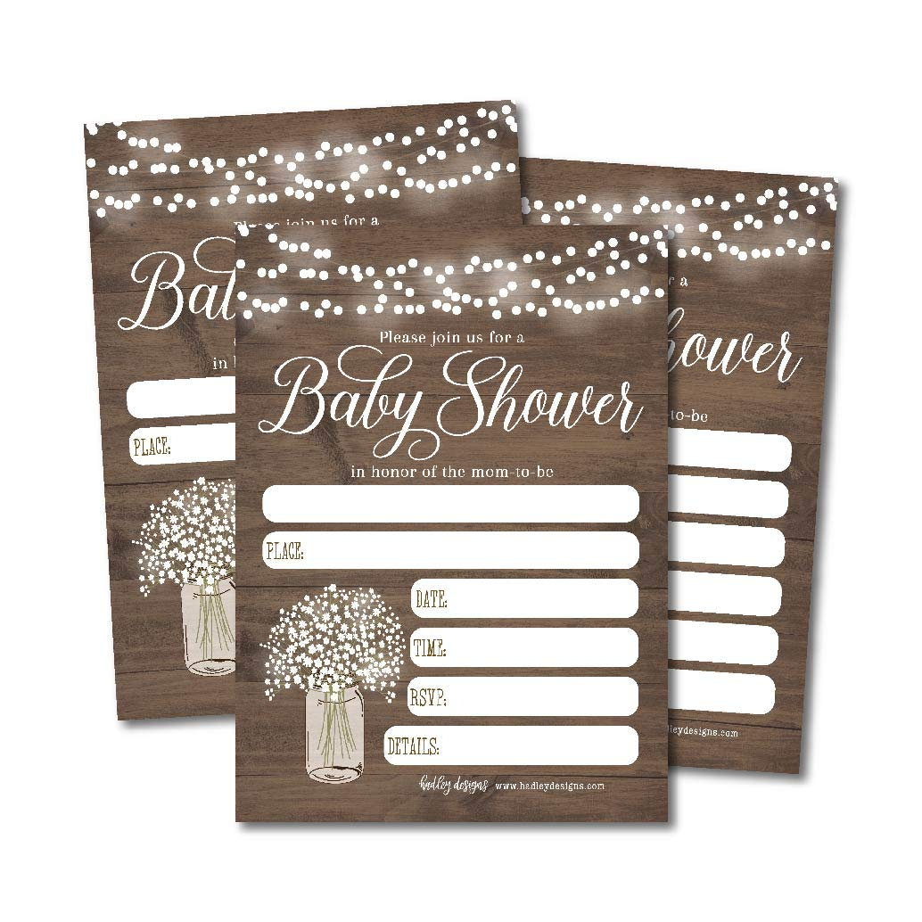 25 Rustic Wood and Floral Baby Shower Invitation by Hadley Designs (Image #1)