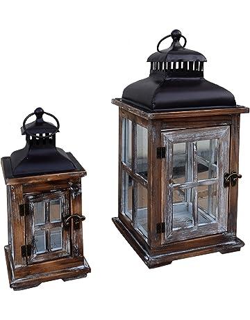 Mobili Rebecca® Set de 2 Faroles Portavelas Vintage Madera Vidrio Metal Decoracíon Hogar (Cod