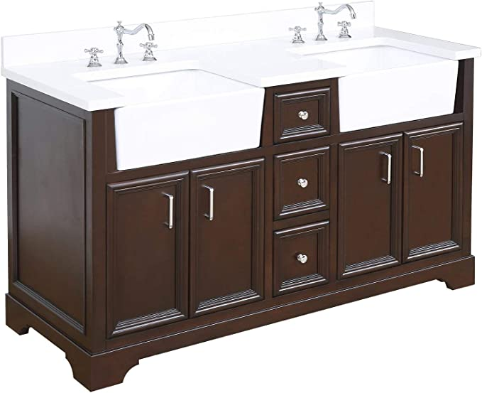 Zelda 60 Inch Double Bathroom Vanity Quartz Chocolate Includes Chocolate Cabinet With Stunning Quartz Countertop And White Ceramic Farmhouse Apron Sinks Kitchen Dining Amazon Com