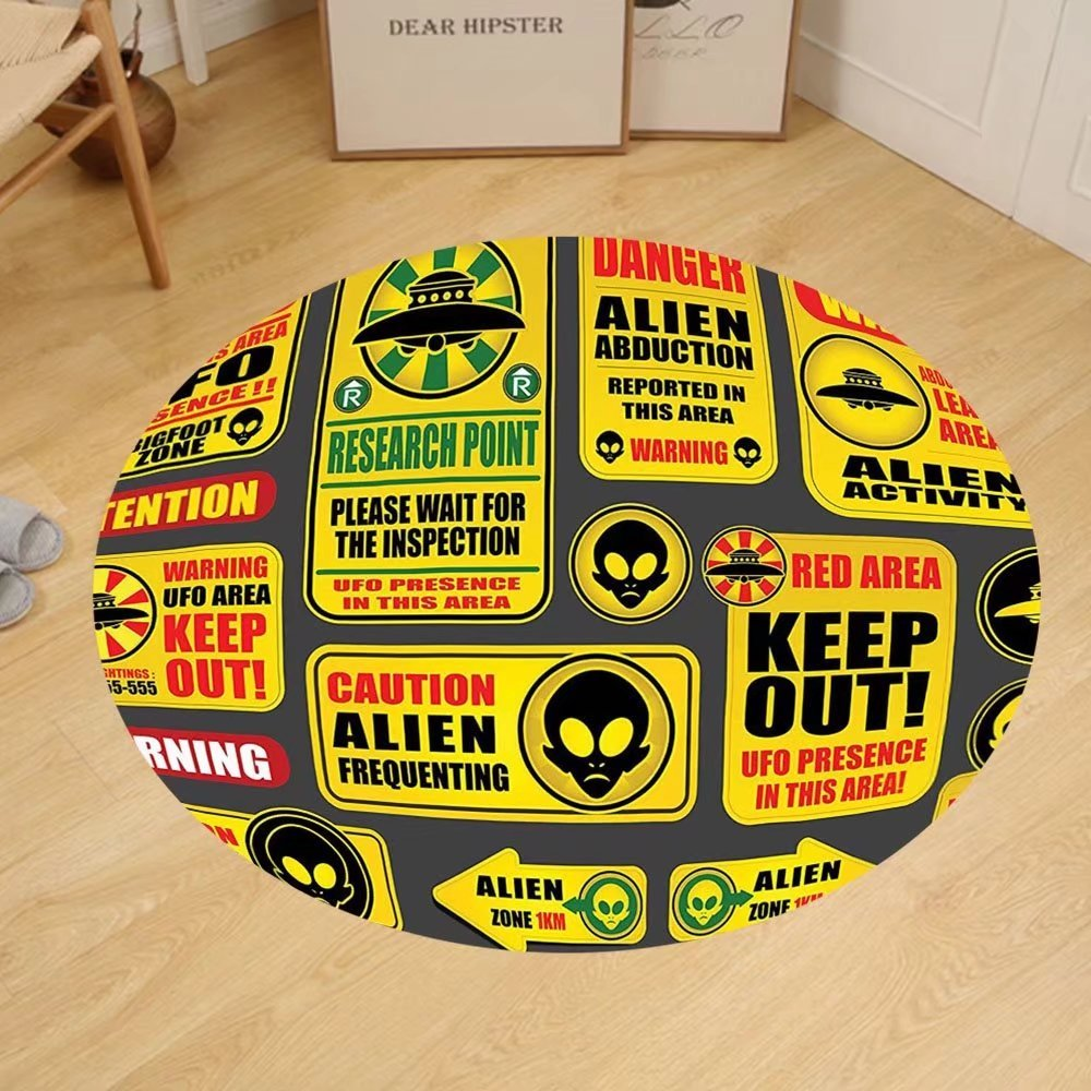 Gzhihine Custom round floor mat Outer Space Decor Warning Ufo Signs with Alien Faces Heads Galactic Paranormal Activity Design Bedroom Living Room Dorm Yellow