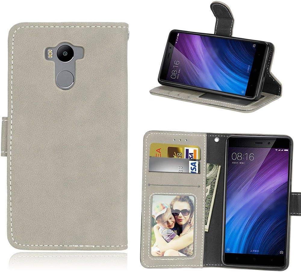 Sangrl Libro Funda para Xiaomi Redmi 4 Pro/Redmi 4 Prime, PU Cuero Cover Flip Soporte Case [Función de Soporte] [Tarjeta Ranuras] Cuero Sintética Wallet Flip Case Gris