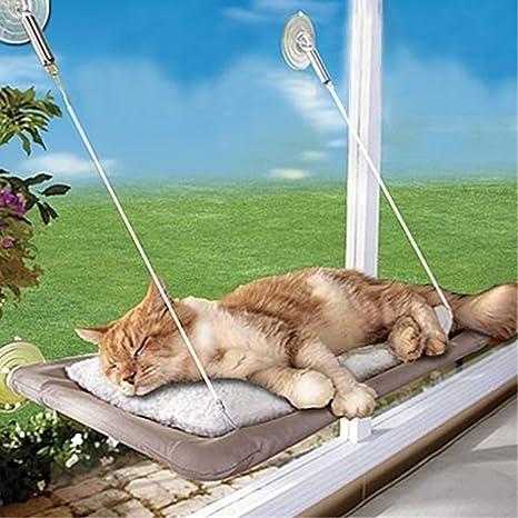 Cama de ventana para gato Yookay, tipo hamaca, 4 ventosas resistentes y capacidad para hasta 35 lb