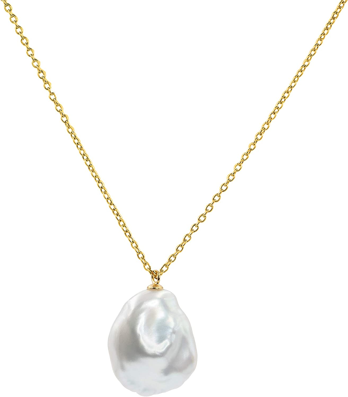 Secret & You Collar de Mujer Perlas Cultivadas Keshi de Agua Dulce - Cadena y Colgante de Plata de Ley de 925 Bañada en Oro de 18k 38 a 45 cm de Largo.