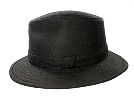 42d59abe430 Biddy Murphy Men's Irish Fedora 100% Wool Tweed Black Made in Ireland Small