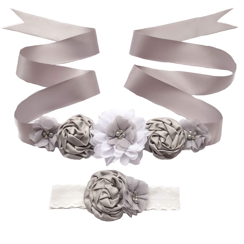 Women Girls Wedding Baby Shower Sash Maternity Flower Sash Belt Headband Set