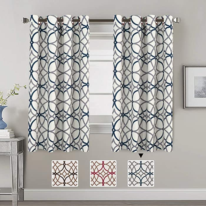 H.VERSAILTEX Thermal Insulated Blackout Curtains Energy Smart Saving Easy Care Grommet Panels for Kitchen Windows- 52 inch Width by 63 inch Length- Set of 2 Panels- Grey and Navy Geo Pattern