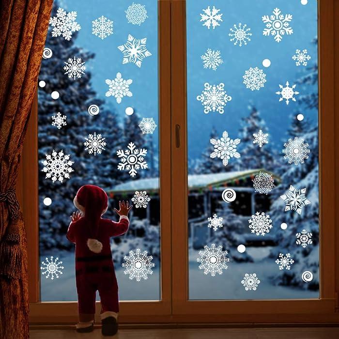 JOYET 232 PCS Christmas Snowflake Window Stickers Clings Decorations - White Christmas Window Decals for Xmas Winter Christmas Decorations