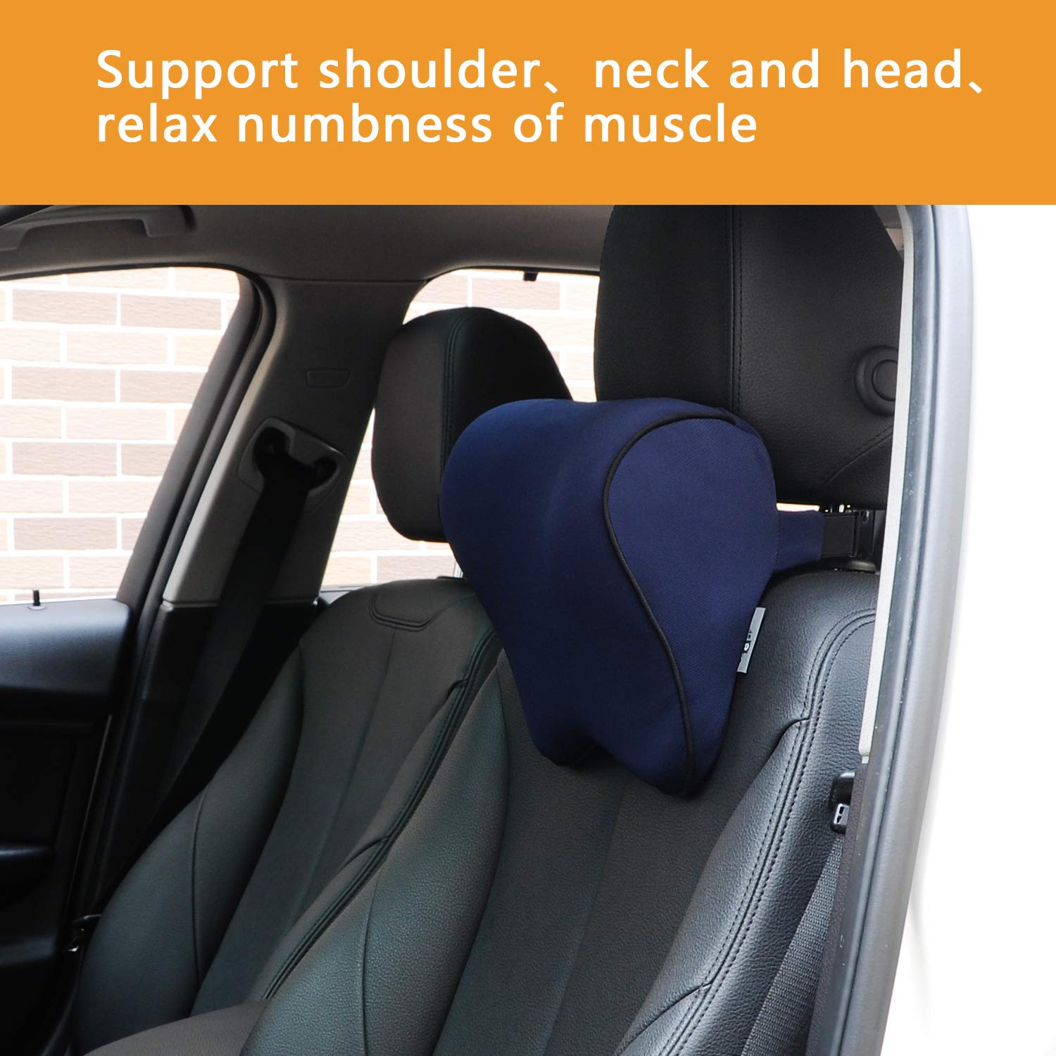 Dreamer Car Back Support in Car /& Headrest Pillow Kit Designed for Car Seat,High Density Memory Foam Ergonomically Designed for Full Back and Head Support and Back Pain Relief,Deep Blue