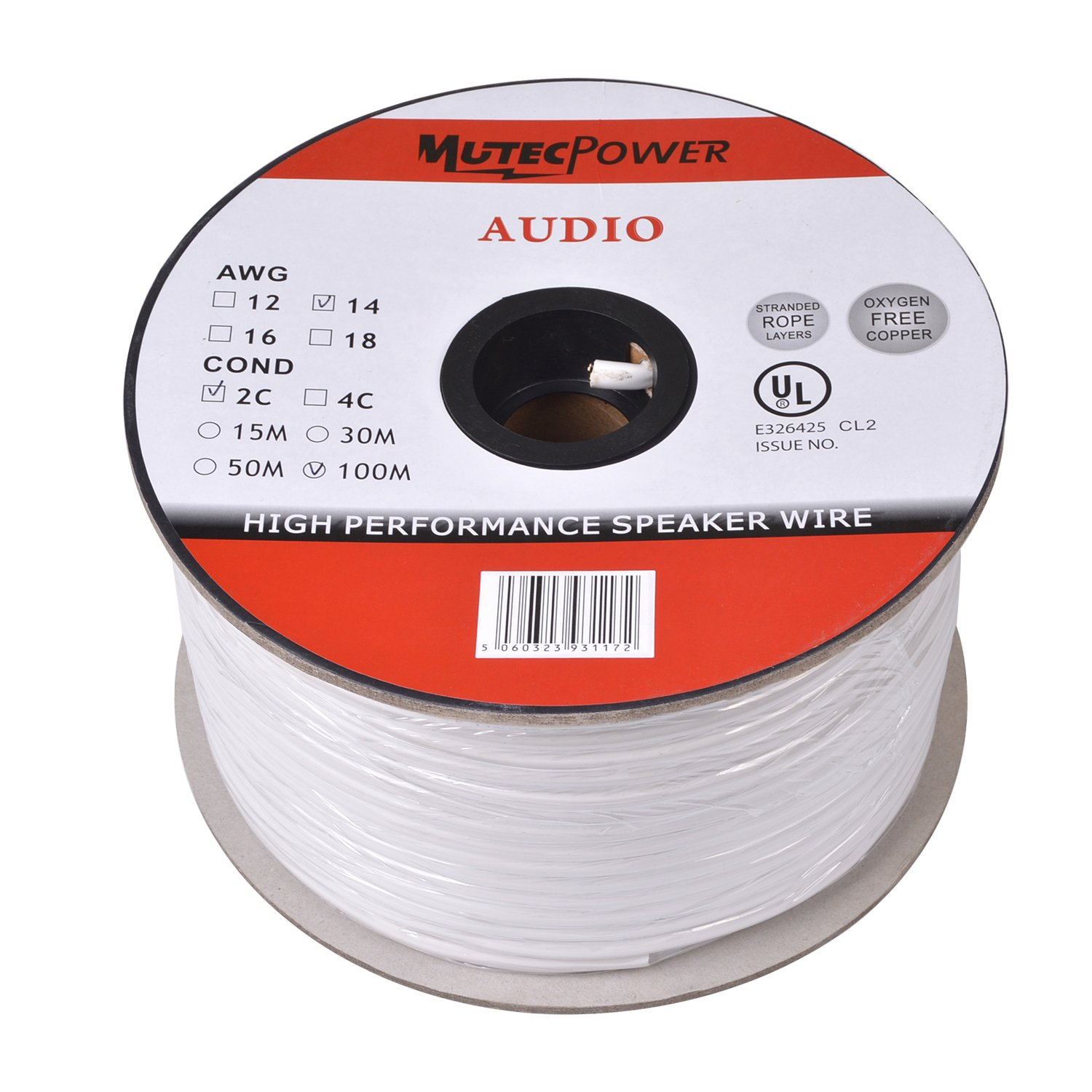 muteccable speaker wire 2 x 15mm 30m cl2 rated ul amazoncouk electronics