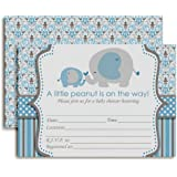 "Blue Elephant Baby Shower Invitations, Ten 5""x7"" Fill In Cards with 10 White Envelopes by AmandaCreation"