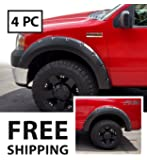 Premium Fender Flares for 2004-2008 Ford F-150 Styleside models; 2006-2008 Lincoln Mark LT | Smooth Matte Black Paintable Pocket Bolt-Riveted Style 4pc