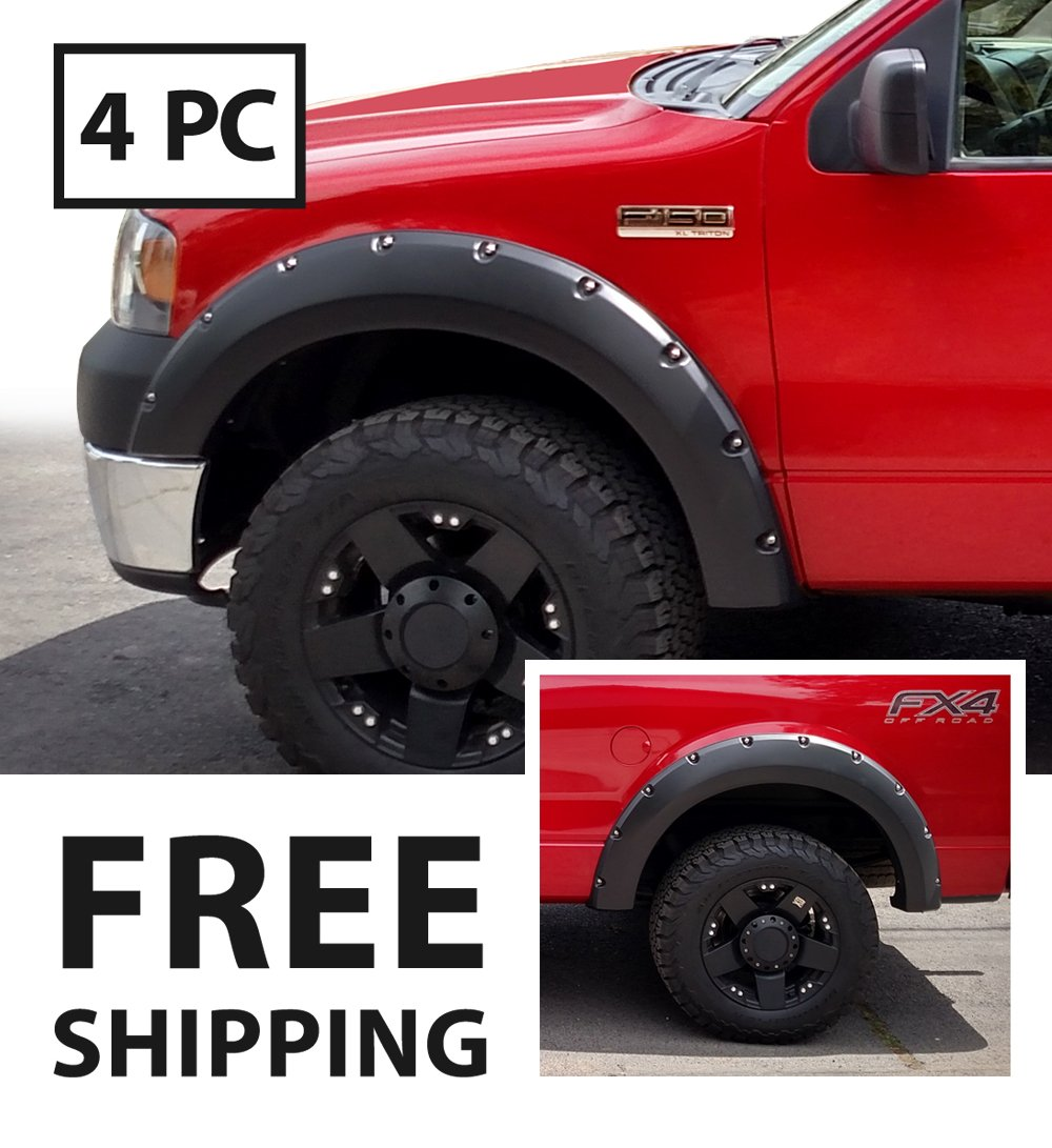 Premium Pocket Bolt-Riveted Style Fender Flares for 2004-2008 Ford F-150 Styleside models; 2006-2008 Lincoln Mark LT | Smooth Matte Black Paintable 4pc by MaxMate