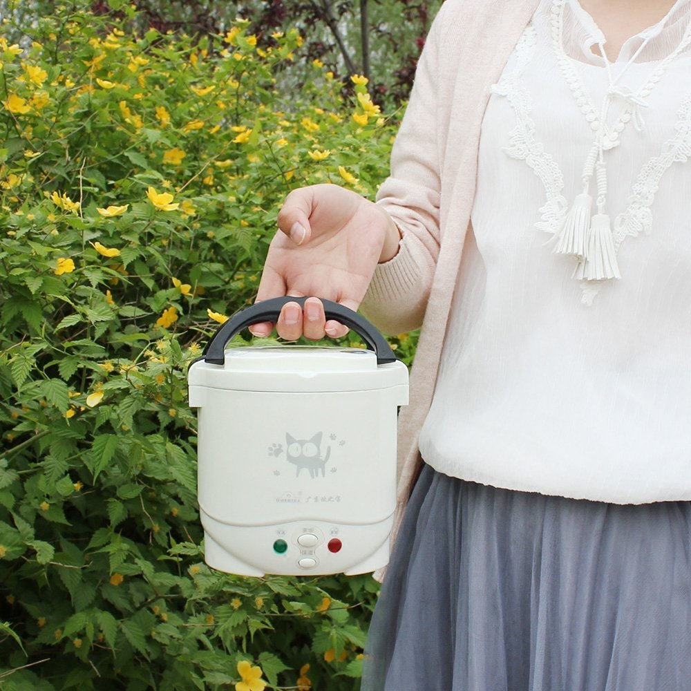 1.0L Electric Mini Rice Cooker 12V For Car, Can Be Used as Lunch Box(White) OUSHIBA C2-12V