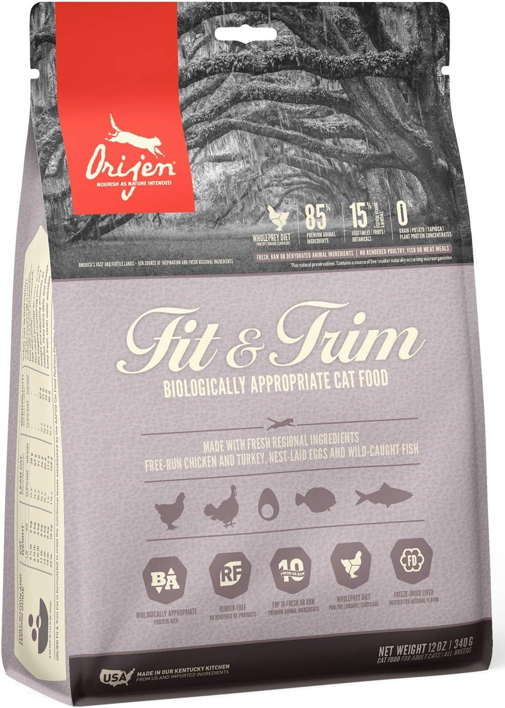 ORIJEN Dry Cat Food, Fit & Trim, Biologically Appropriate & Grain Free, 12OZ