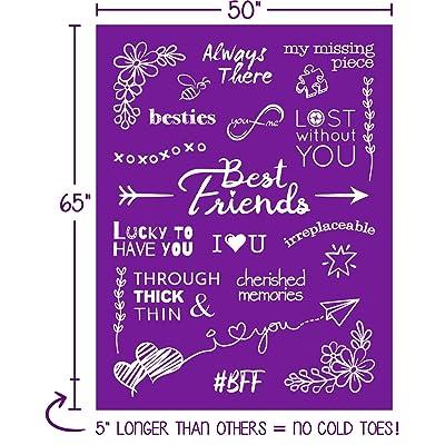 Couples Sister BFF Mom Grandma Aunt Grey, Flannel Fleece Friendship Gift Blanket for Women Girlfriend I Cozy Birthday Gift I Throw Blanket Bestie Best Friend