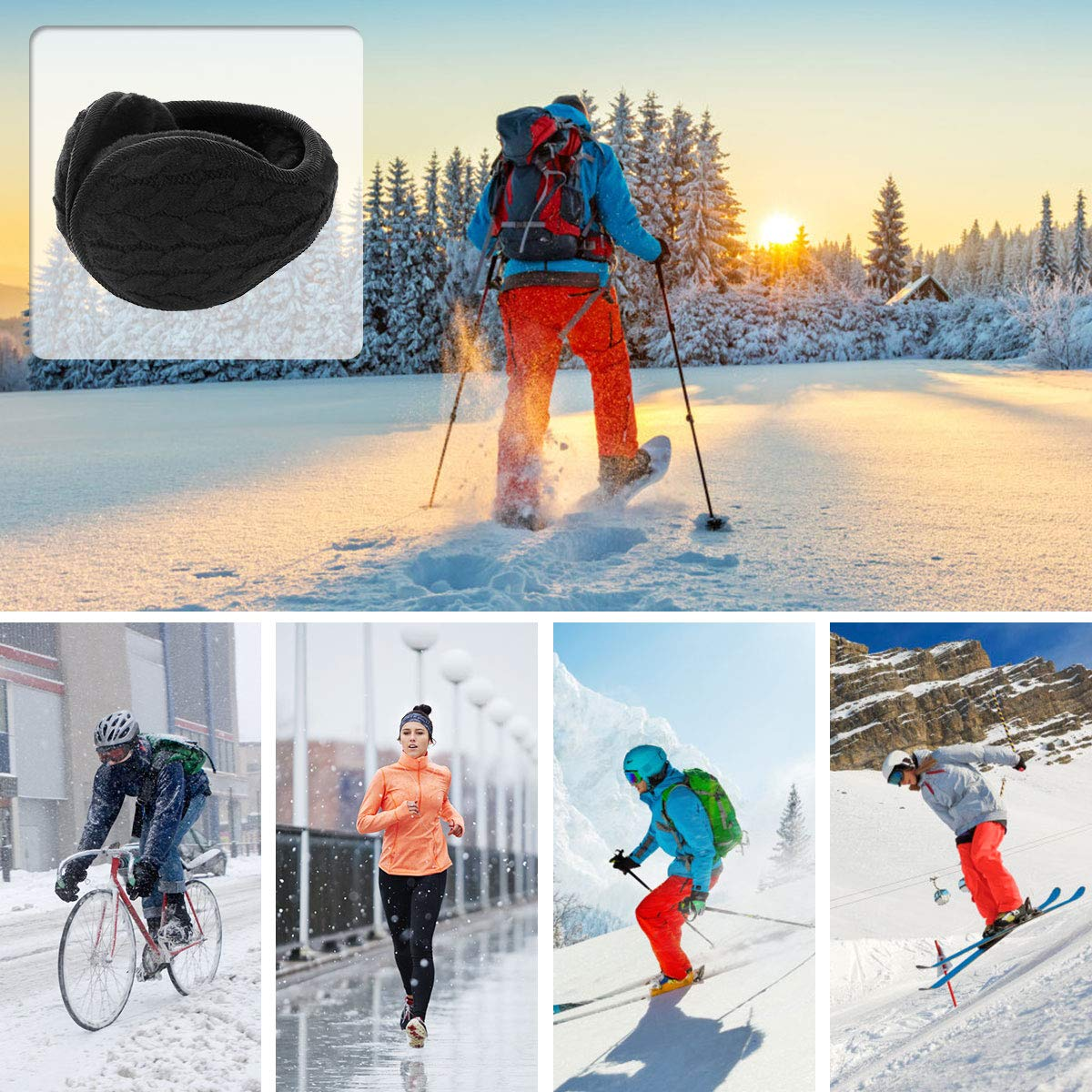 Warm Earmuffs Winter Ear Muffs Classic Fleece Earmuffs Wraparound Solid Soft Plush Unisex Outdoor Snowboarding Ear Warmers Ear Protector Men Women Foldable