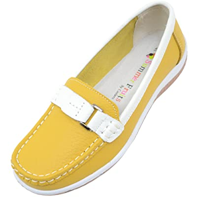 Ladies/Womens 100% Real Leather Slip On Summer/Holiday/Casual/Boat Shoes | Loafers & Slip-Ons