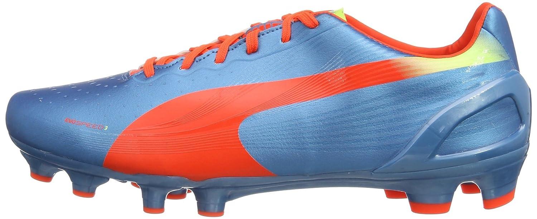 Pumas Evospeed 3.2 Fg - Chaussures De Football, Les Requins De Couleur Bleu / Fluo Orange / Jaune Fluo 5, La Taille 42.5