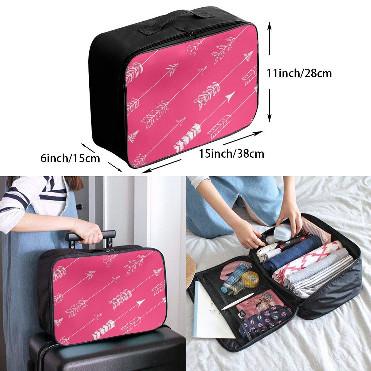 JTRVW Luggage Bags for Travel Multifunctional Fashion Travel Duffel Storage Bag Water Resistant Pink Arrow
