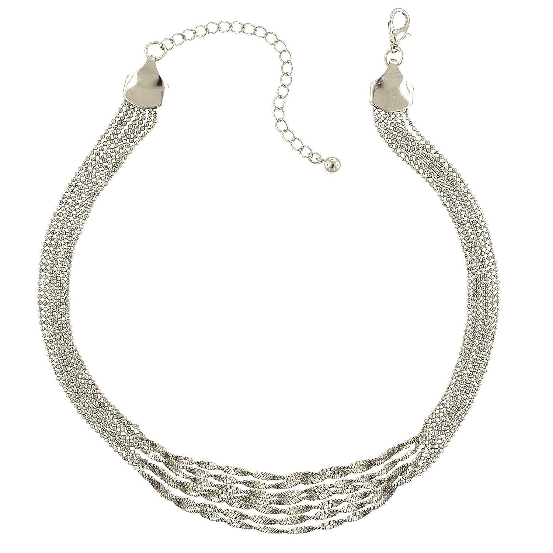 1928 Jewlery Silver-Tone Multi Twist Chain Necklace 16 Adj.