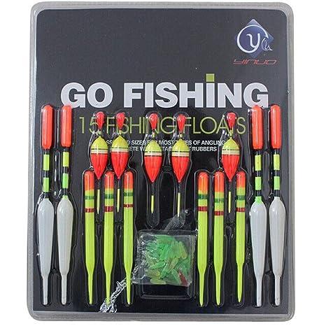 Fishing Lure Floats Bobbers Slip Drift Tube Indicator assorted Sizes 15pcs//set