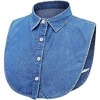 LRrui-bluskrage unisex män kvinnor avtagbar falsk krage, falskt slag halvskjorta lätt att matcha (färg: Denim)