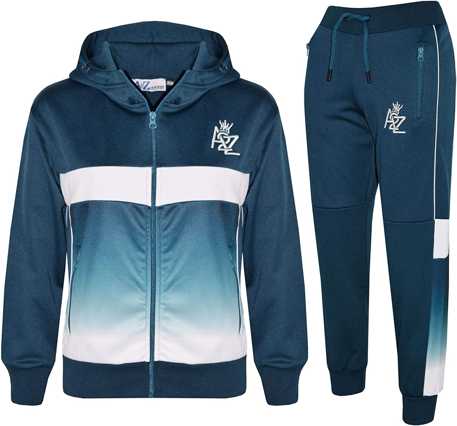 A2Z Kids Boys Girls Tracksuits Fade Gradient Teal Hooded Top Bottom Jogging Suit 71HO9P0PY5L
